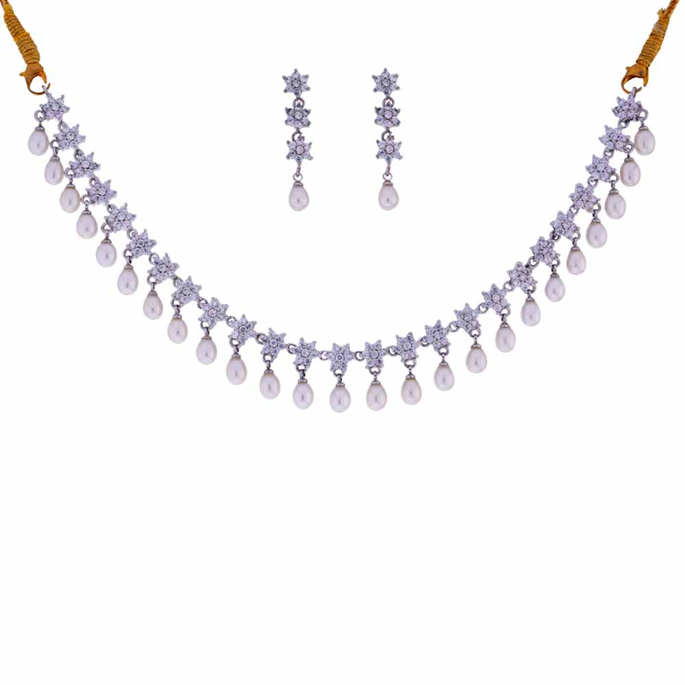 Jewelry-Cz Pearl Drop Necklace
