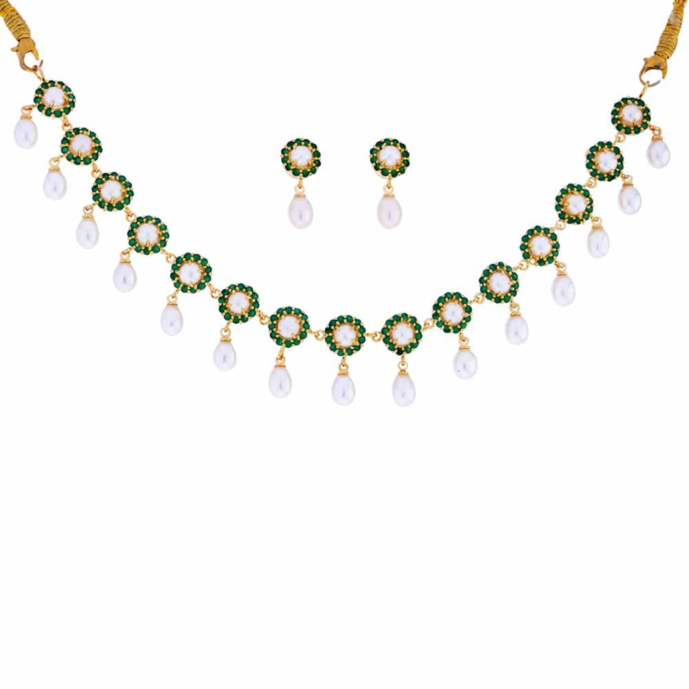 Emerald Stone Pearl Drop Necklace