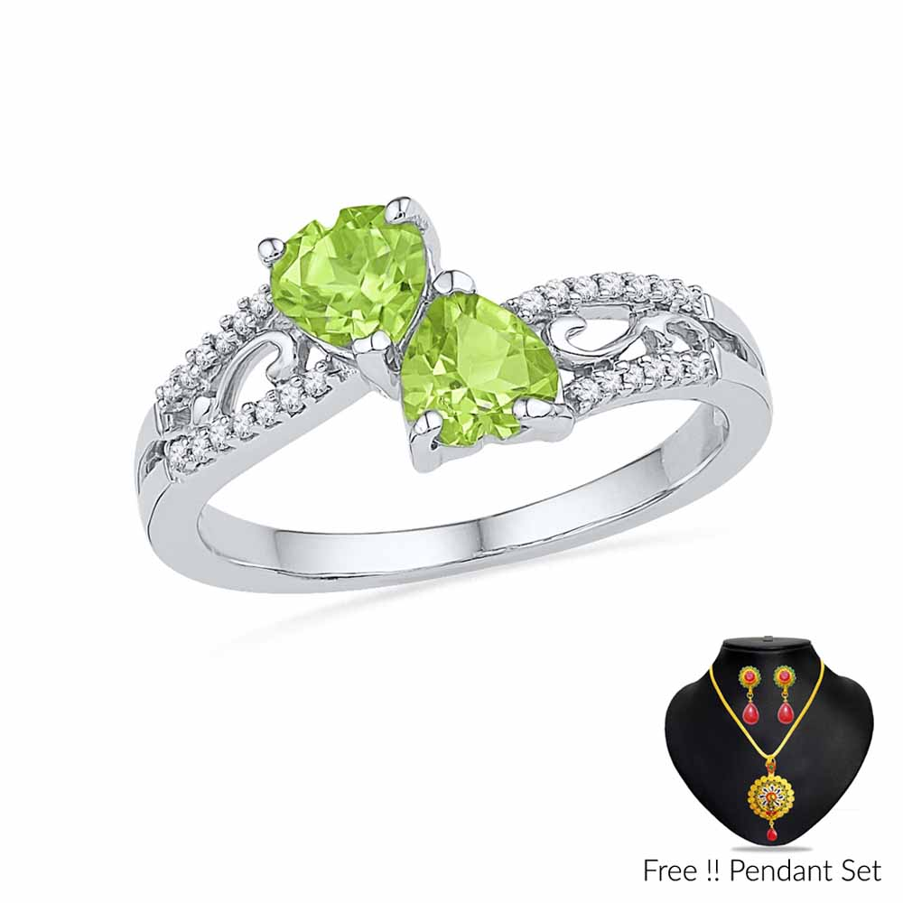 Jewelry-Peridot With Diamonds Finger Ring