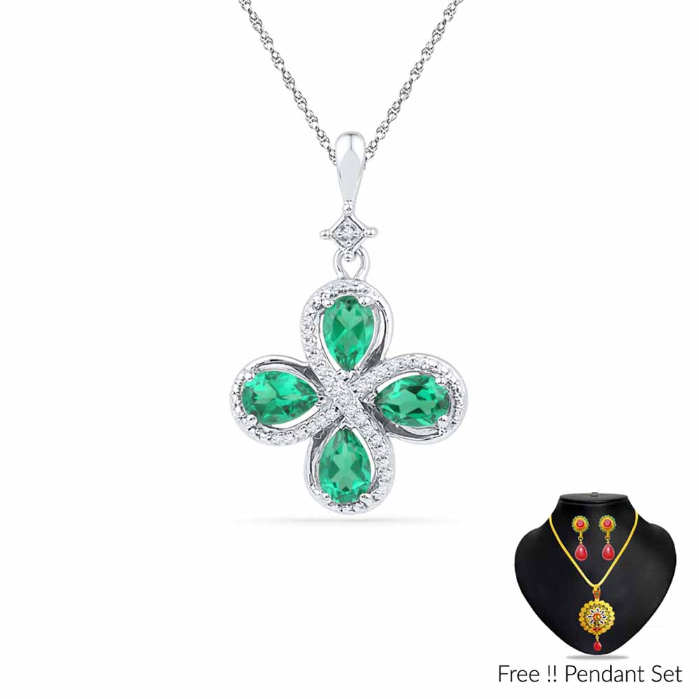 Jewelry-Four Emerald Diamond Pendant