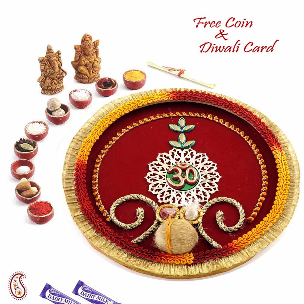 Red Base OM Motif Embellished Pooja Thali
