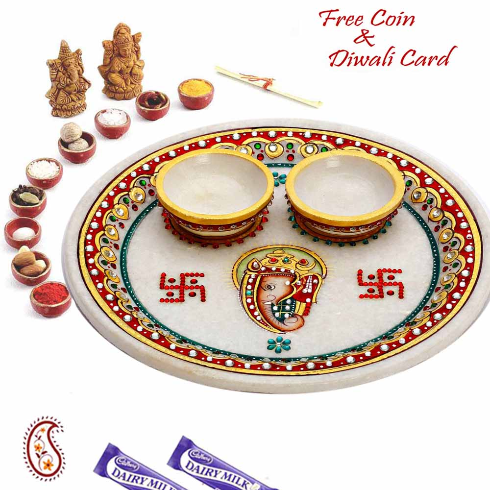 Pooja Thaali-Ganesh and Swastik inscribed Pure white Marble Pooj Thali