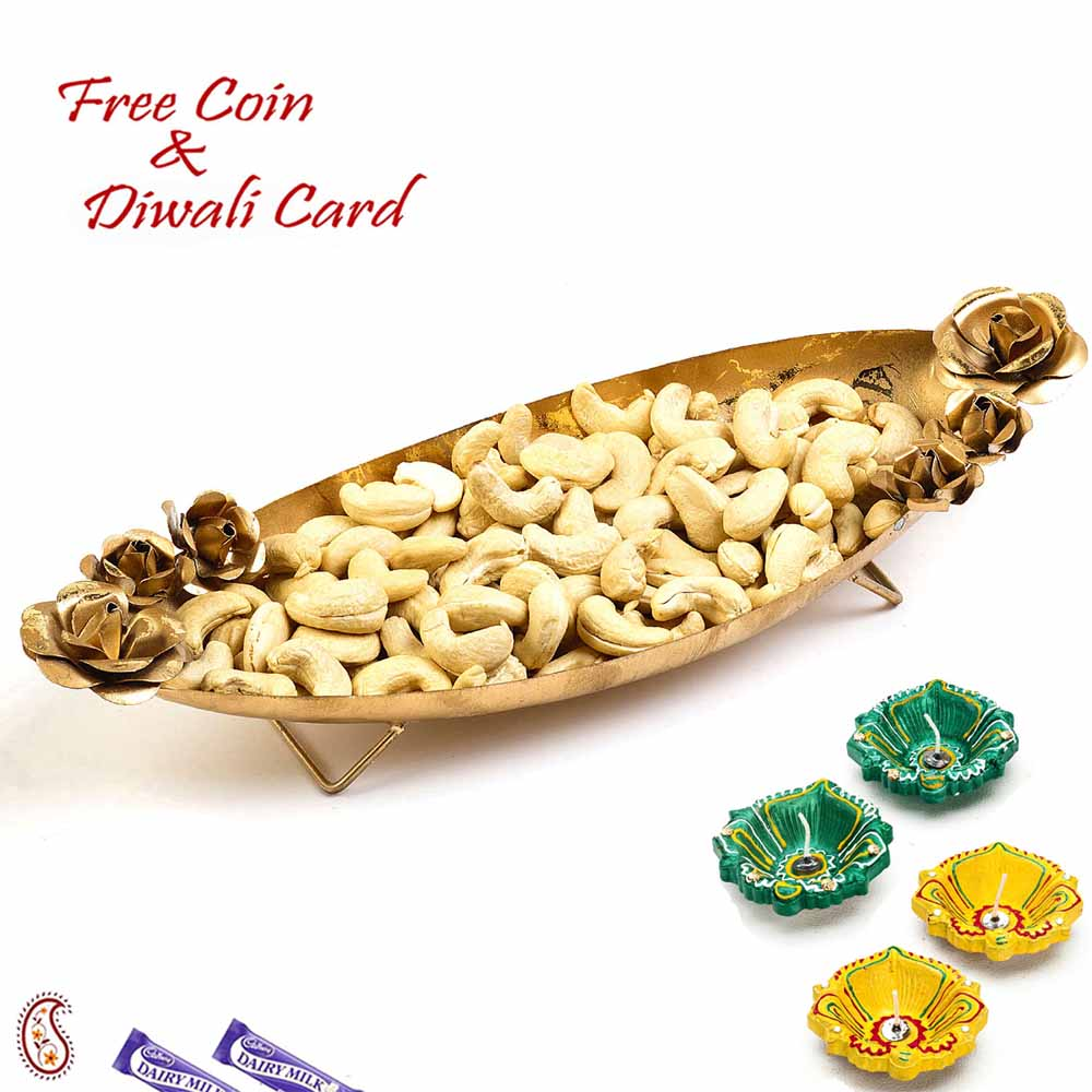 Boat Shape Gold Finish Tray with Dry fruits