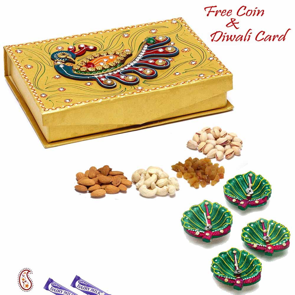 Peacock Design Golden Drufruit Box