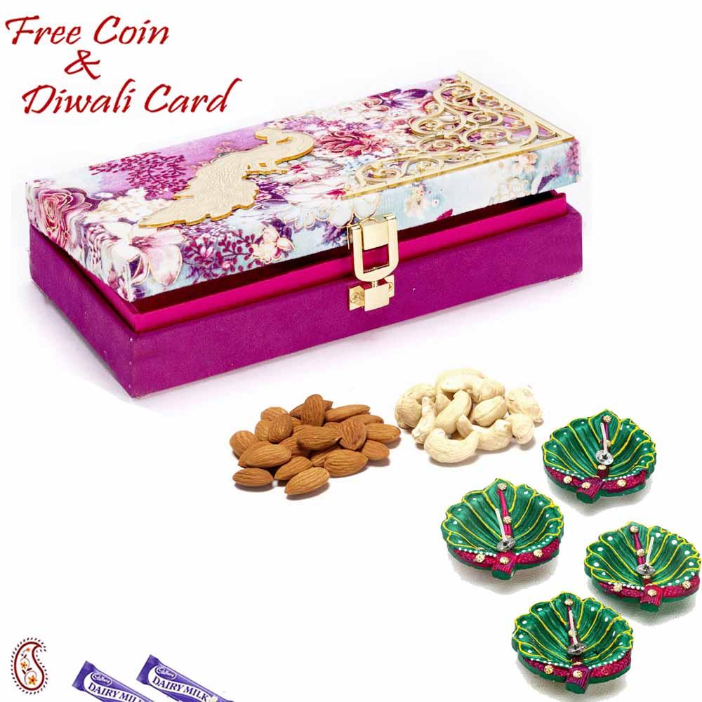 Purple Floral Dryfruit Box for Festive Season
