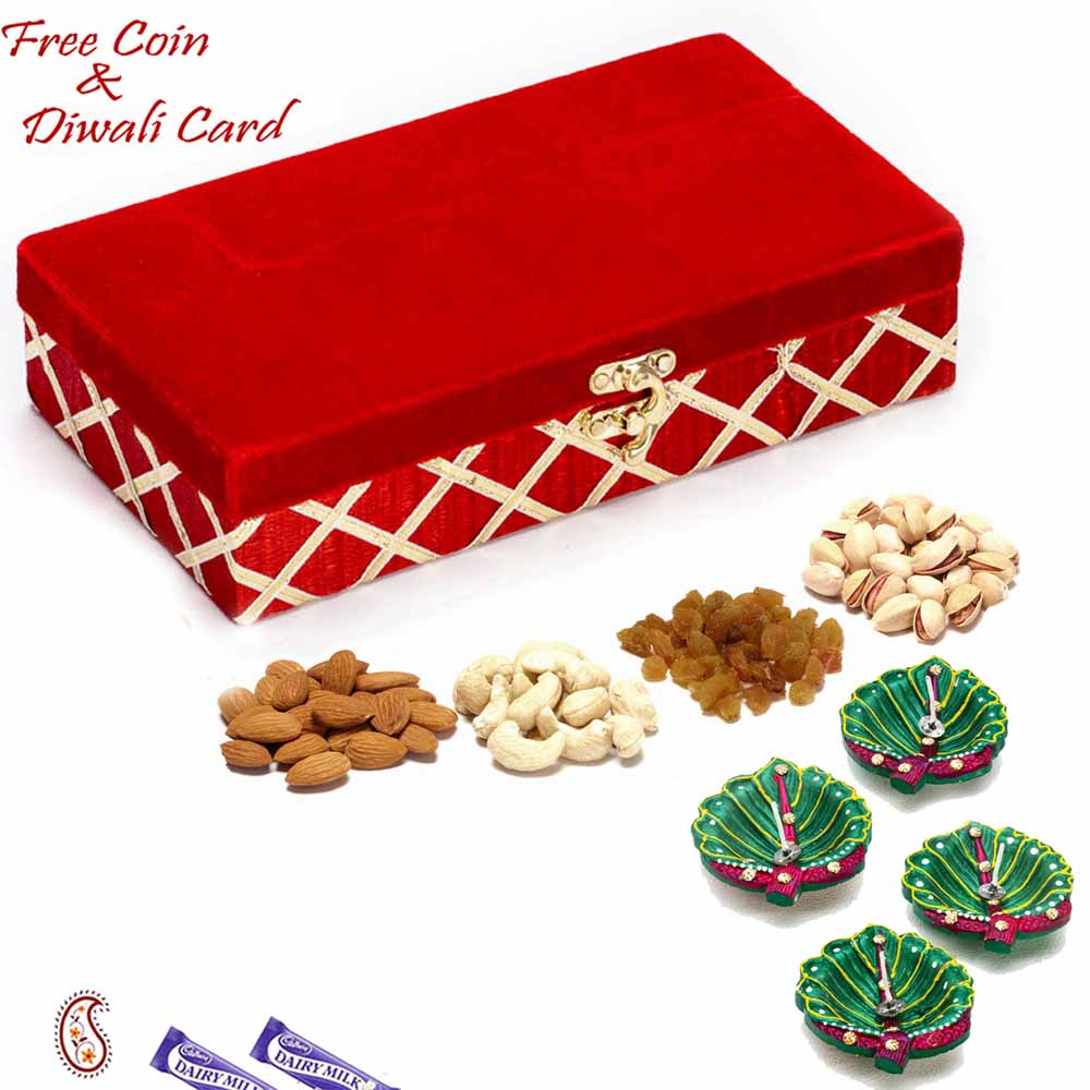 Red Rectangular Dryfruit Box for Festive Season