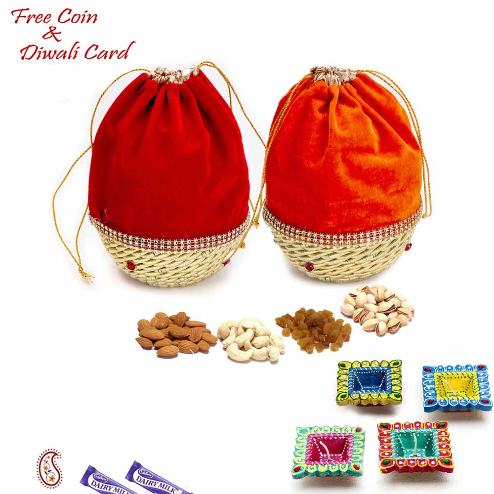 Red & Orange 2 Dryfruit Pouch Bags