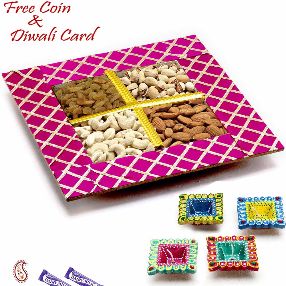 Diwali Dryfruits-Purple Dryfruit Gift Box for Festive Season
