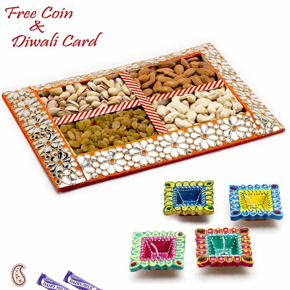 Diwali Dryfruits-Floral Design Dryfruit Gift Box