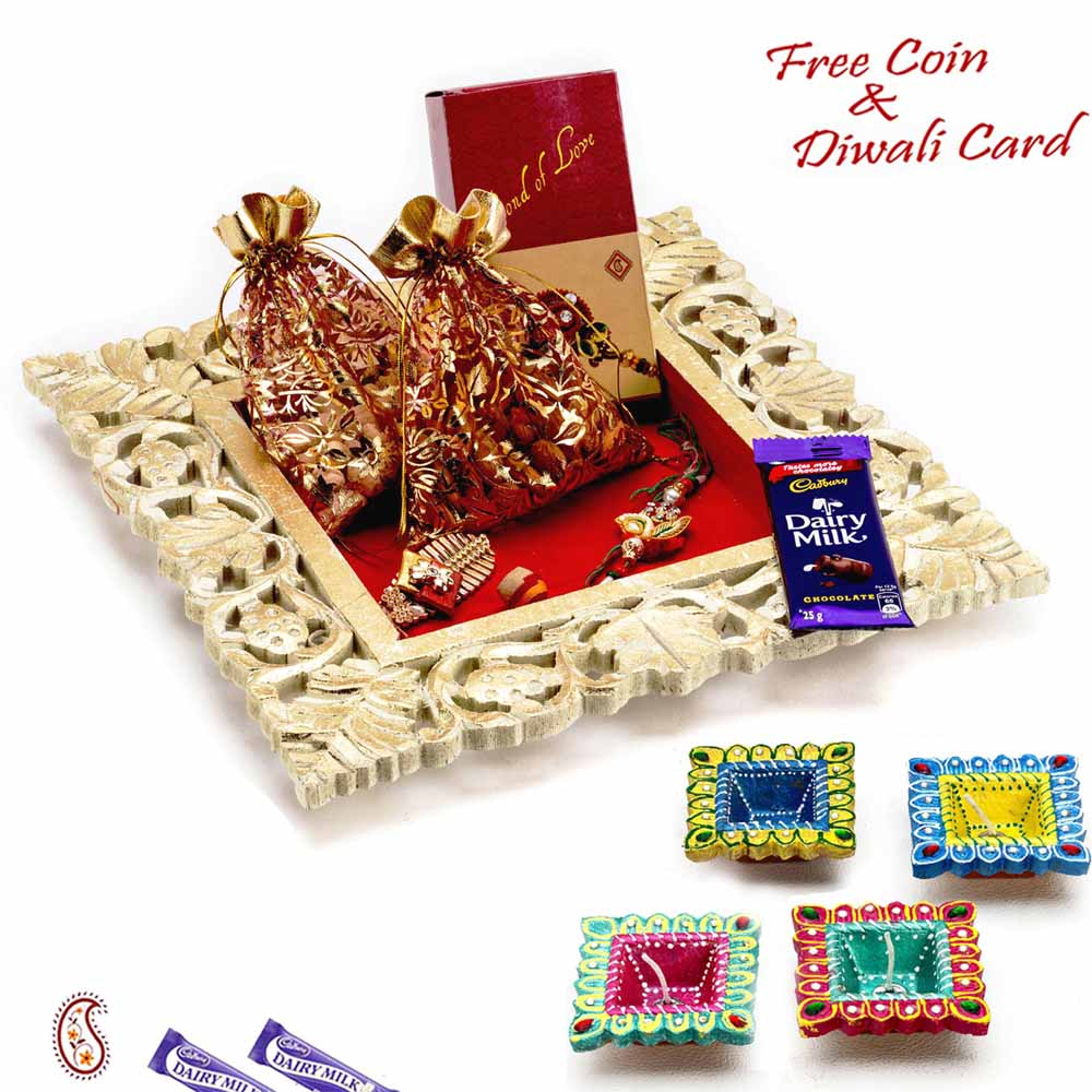 Golden Square Dryfruits Tray with Pouches