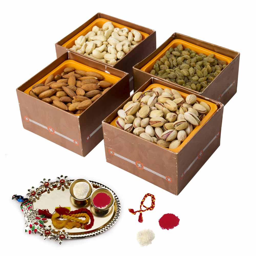 Bhai Dooj Gifts-Dry fruits Jumbo Combo Bhai Dooj Hamper for 2 brothers