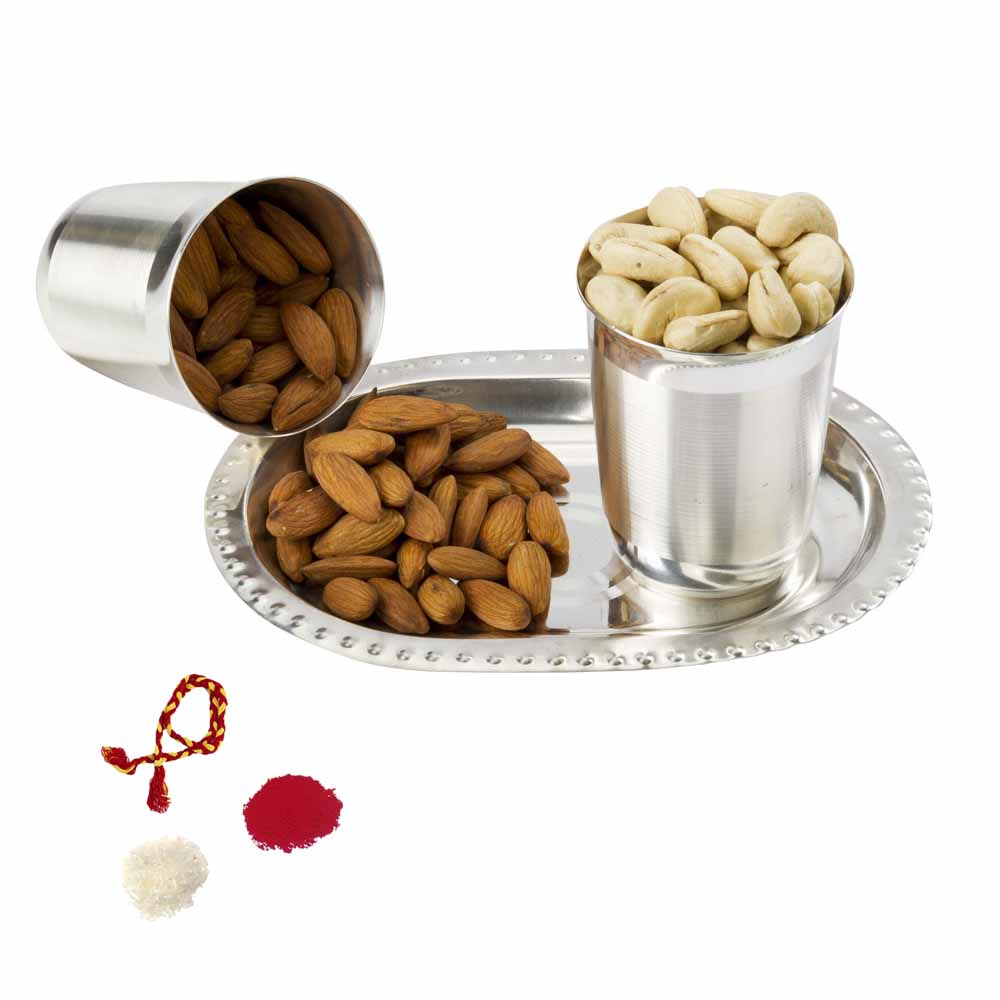Bhai Dooj Gifts-Nutty Silver Glasses Bhai Dooj Hamper