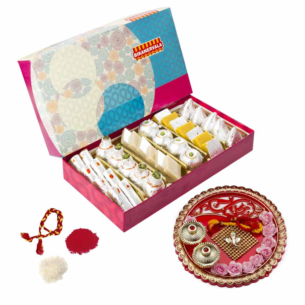 Bhai Dooj Gifts-Bikanervala Jumbo Sweets Combo with Bhai Dooj Thali for 2 brothers