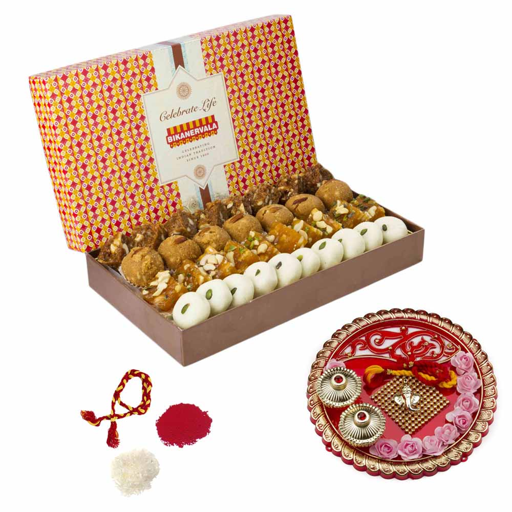 Bikanervala Traditional Sweets Combo with Bhai Dooj Thali for 2 brothers