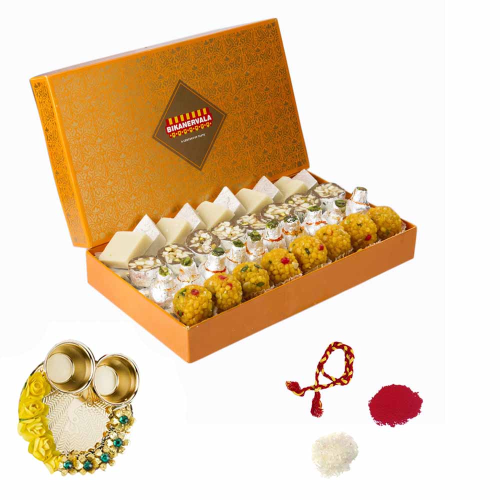 Bikanervala Rustic Sweets Combo with Bhai Dooj Thali for 2 brothers