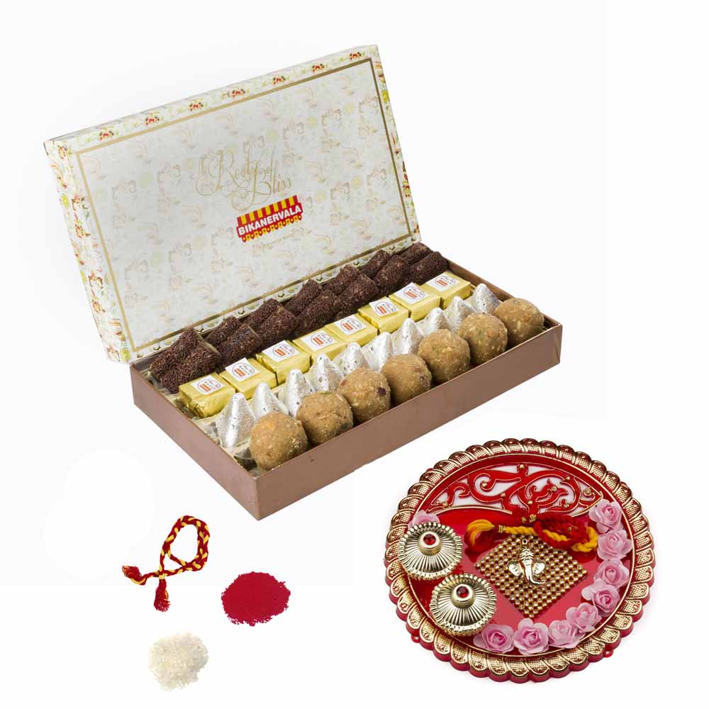 Bikanervala Lipsmacking Sweets Combo with Bhai Dooj Thali for 2 brothers