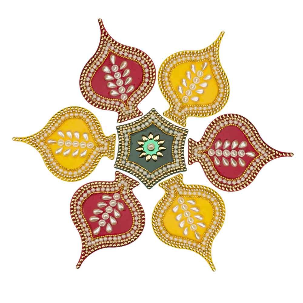 Diwali Rangoli-Flowering Leaves Pearl Rangoli