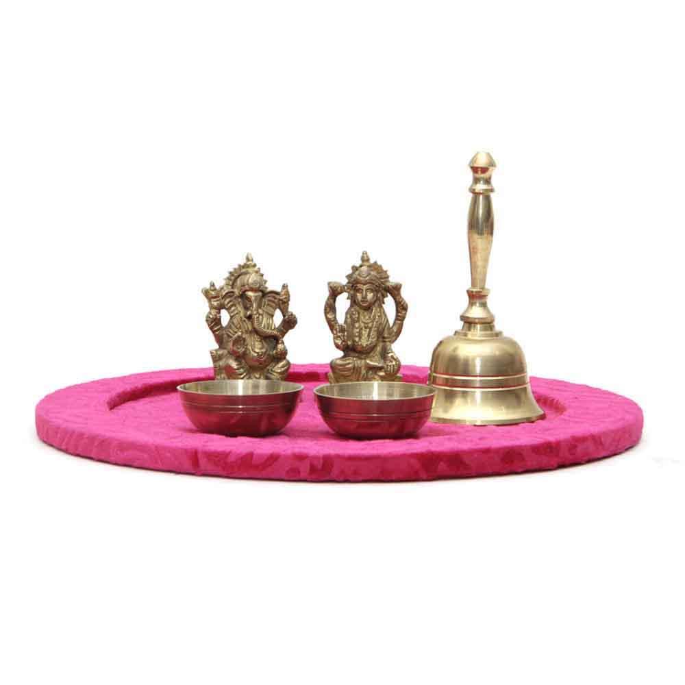 Diwali Puja Thali Brass Ganesha & Laxmi