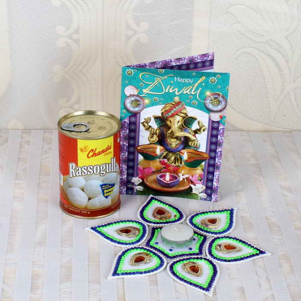 Diwali Rangoli-Stunning Rangoli with Rasgulla Sweets and Diwali Card