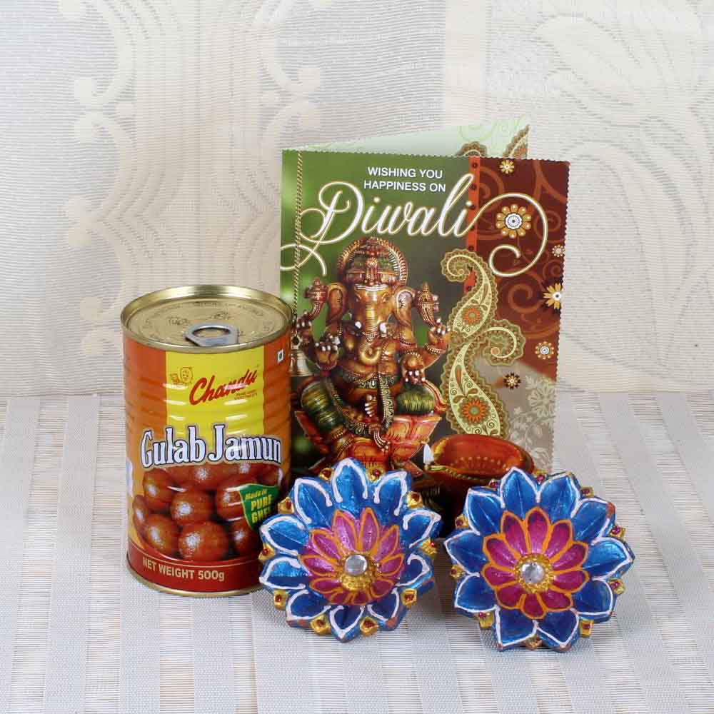 Diya with Gulab Jamun and Diwali Card
