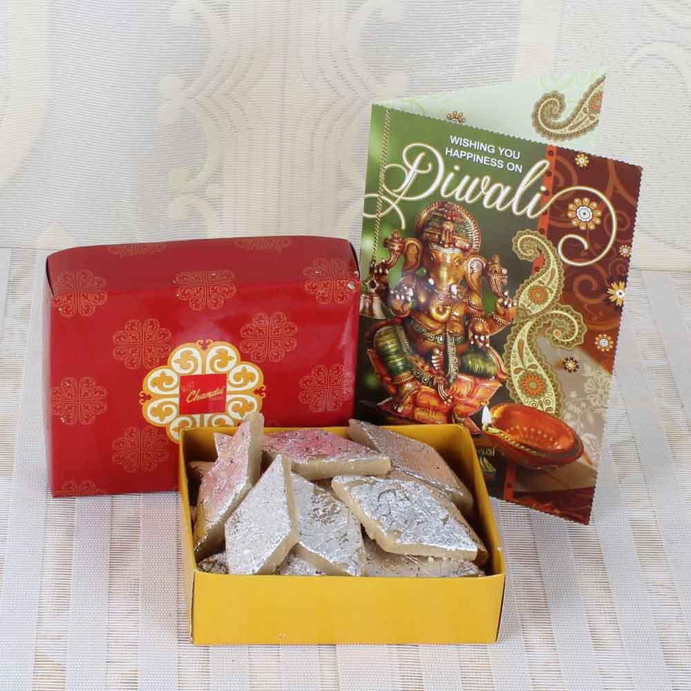 Diwali Mithai Boxes-Kaju Katli Sweets with Diwali Greeting