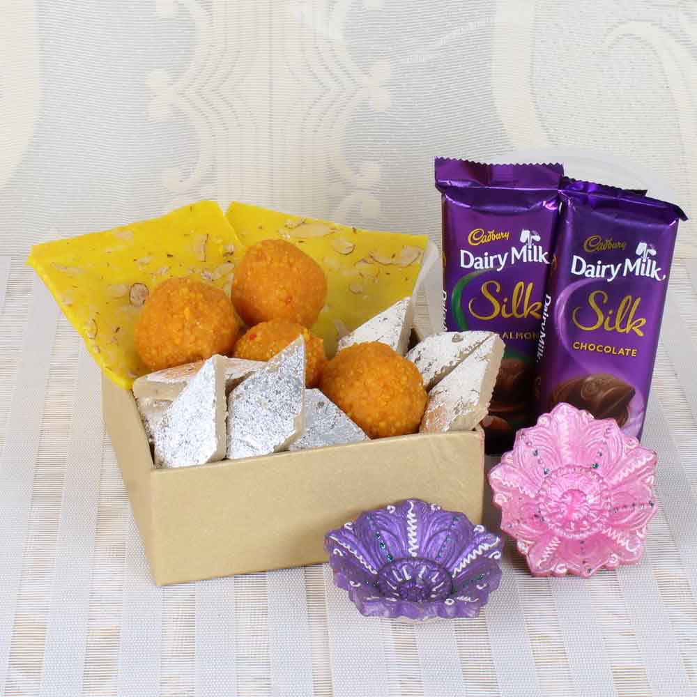 Silk Chocolate with Mixed Sweets and Earthen Diya