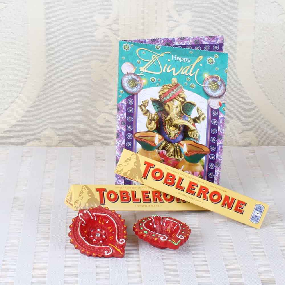 Diwali Diyas-Diwali Card with Earthen Diya and Toblerone Chocolate