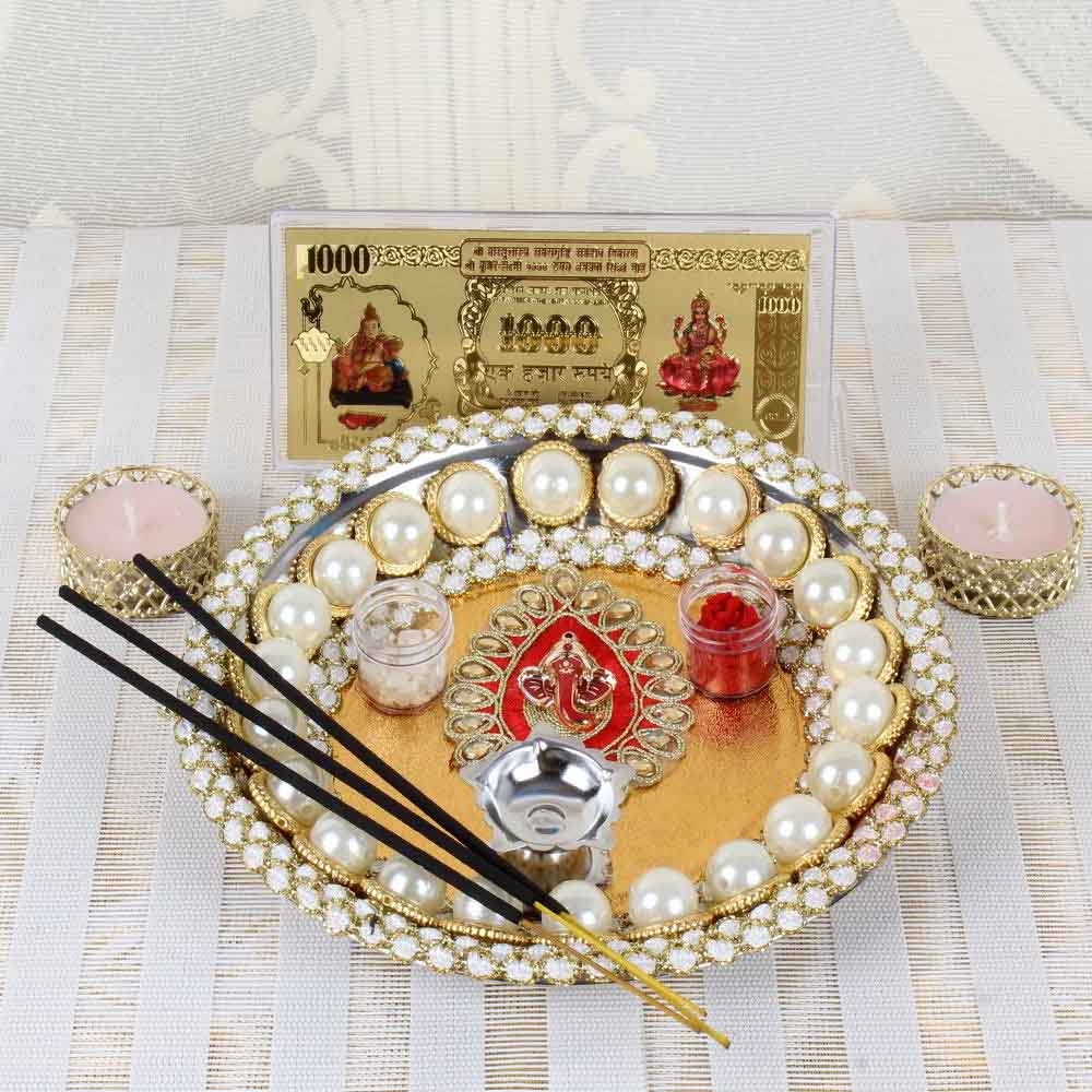 Pearl Beads Diwali Pooja Thali Combo