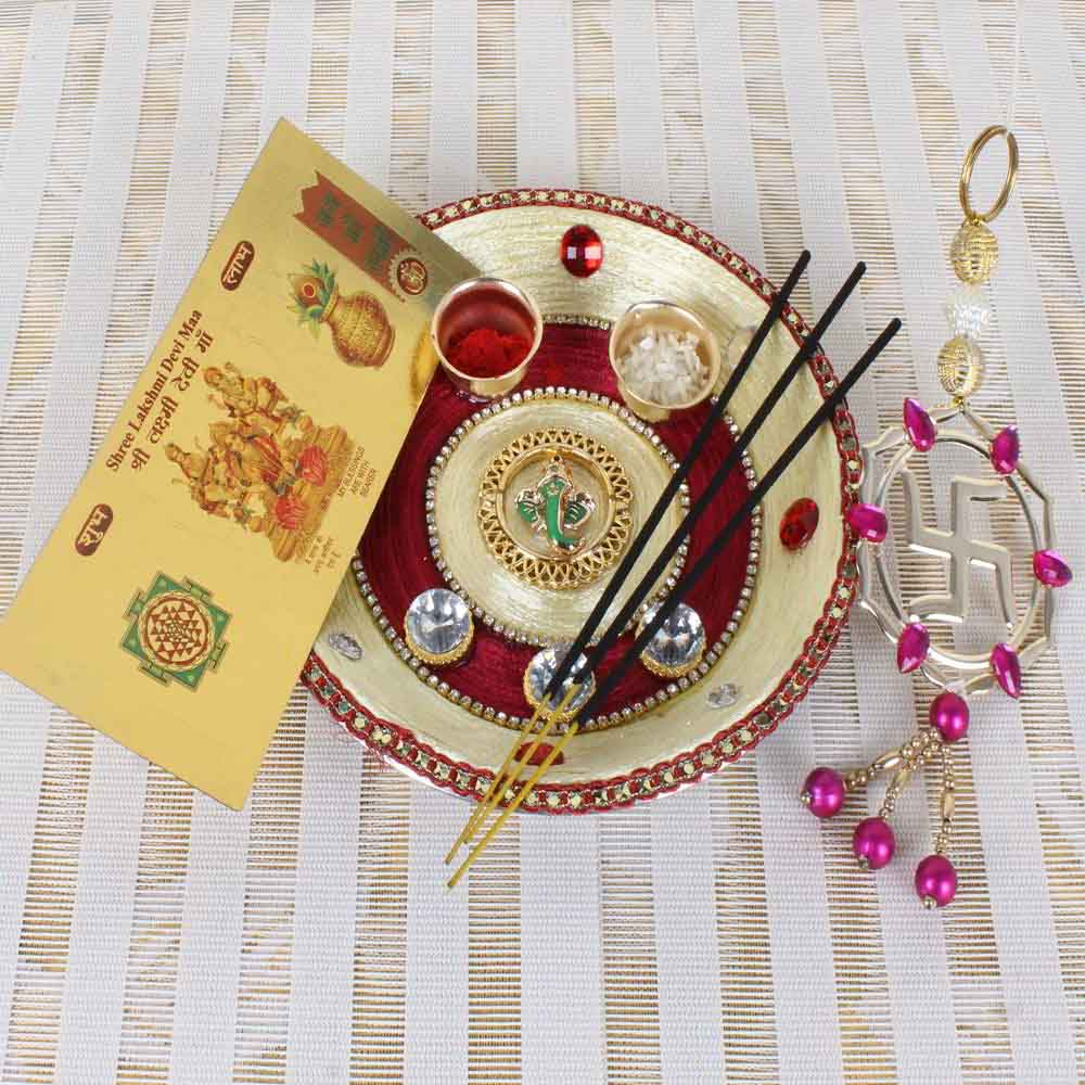 Ganesha Mukh Diamond Designer Diwali Thali Hamper