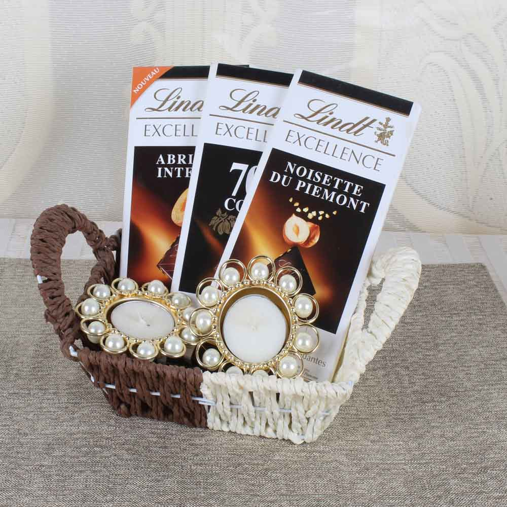 Diwali Diyas-Triple Lindt Chocolate Treat of Diwali With Pearl Diya