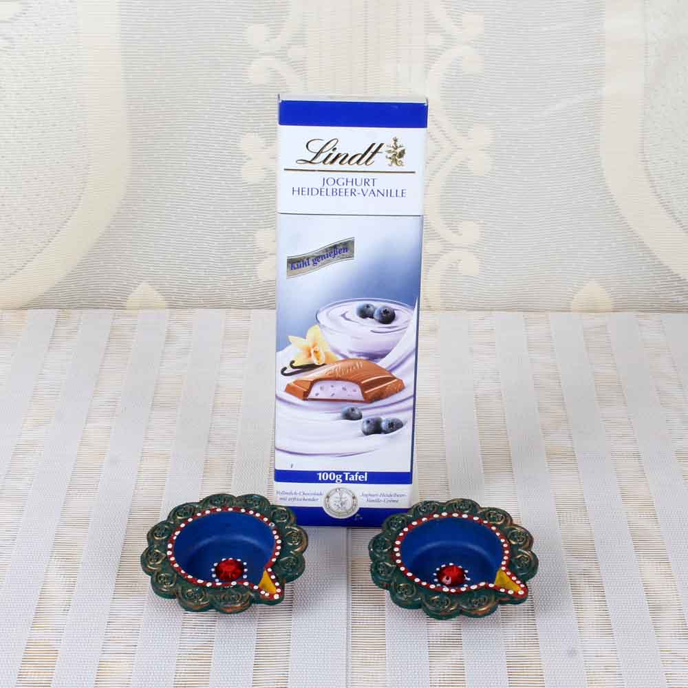 Lindt Joghurt Chocolate with Set of two Earthen Diyas