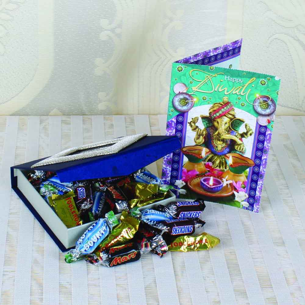 Miniature Imported Assorted Chocolates with Diwali Greeting Card