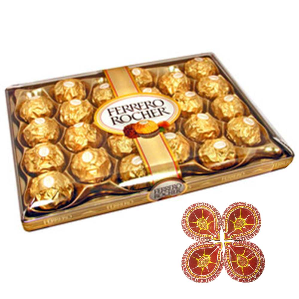 Rocher with red designer diya