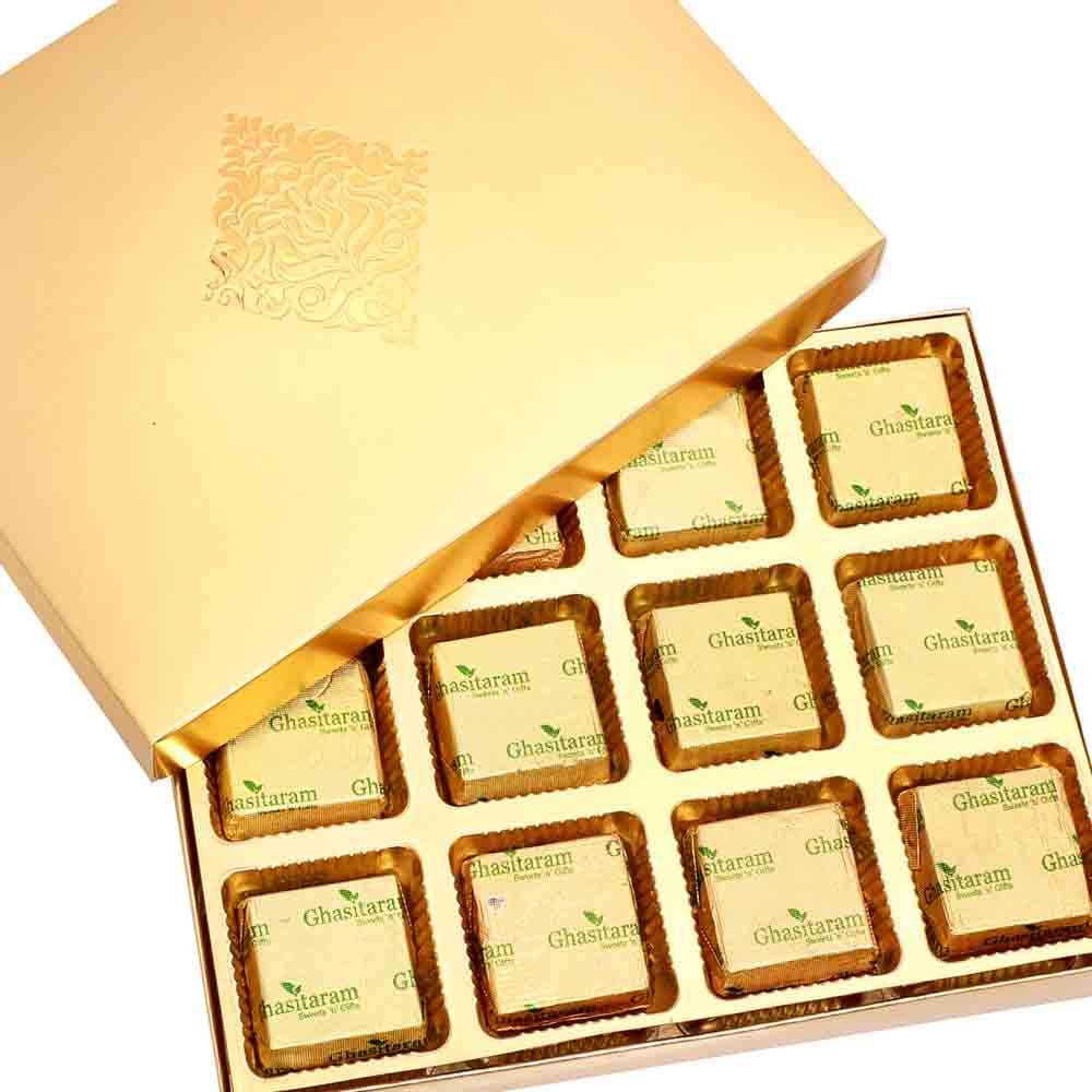 Ghasitaram Gifts Diwali Gifts Sweets - Golden 12 pcs Assorted Mewa Bites Box