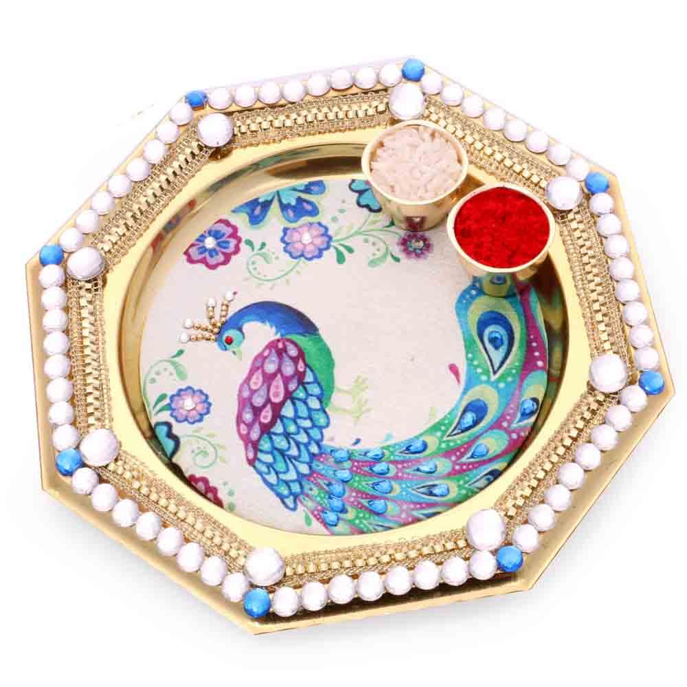 Bhaidhooj Gifts- Peacock Pooja Thali