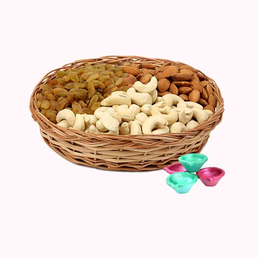 Mix Dry Fruits Basket & Diya - Diwali Gifts