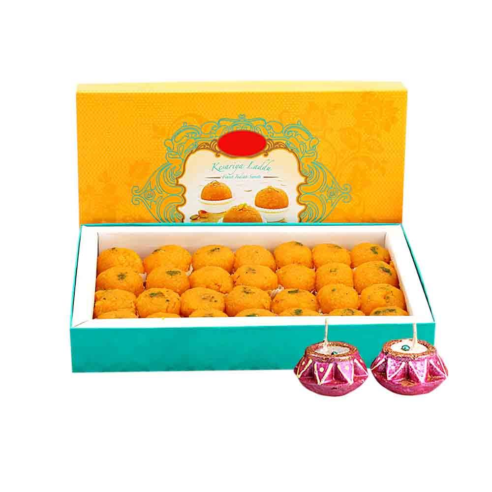 Motichoor Laddoo & Diyas - Diwali Gifts