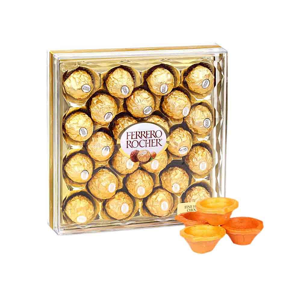 Delicious Chocolate & Traditional Diya - Diwali Gifts