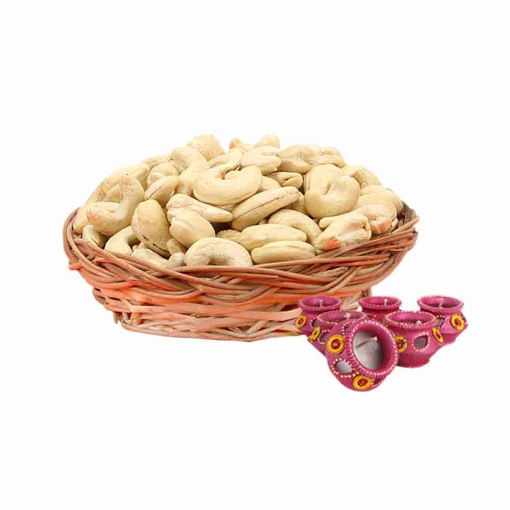 Cashew Basket & Diyas - Diwali Gifts