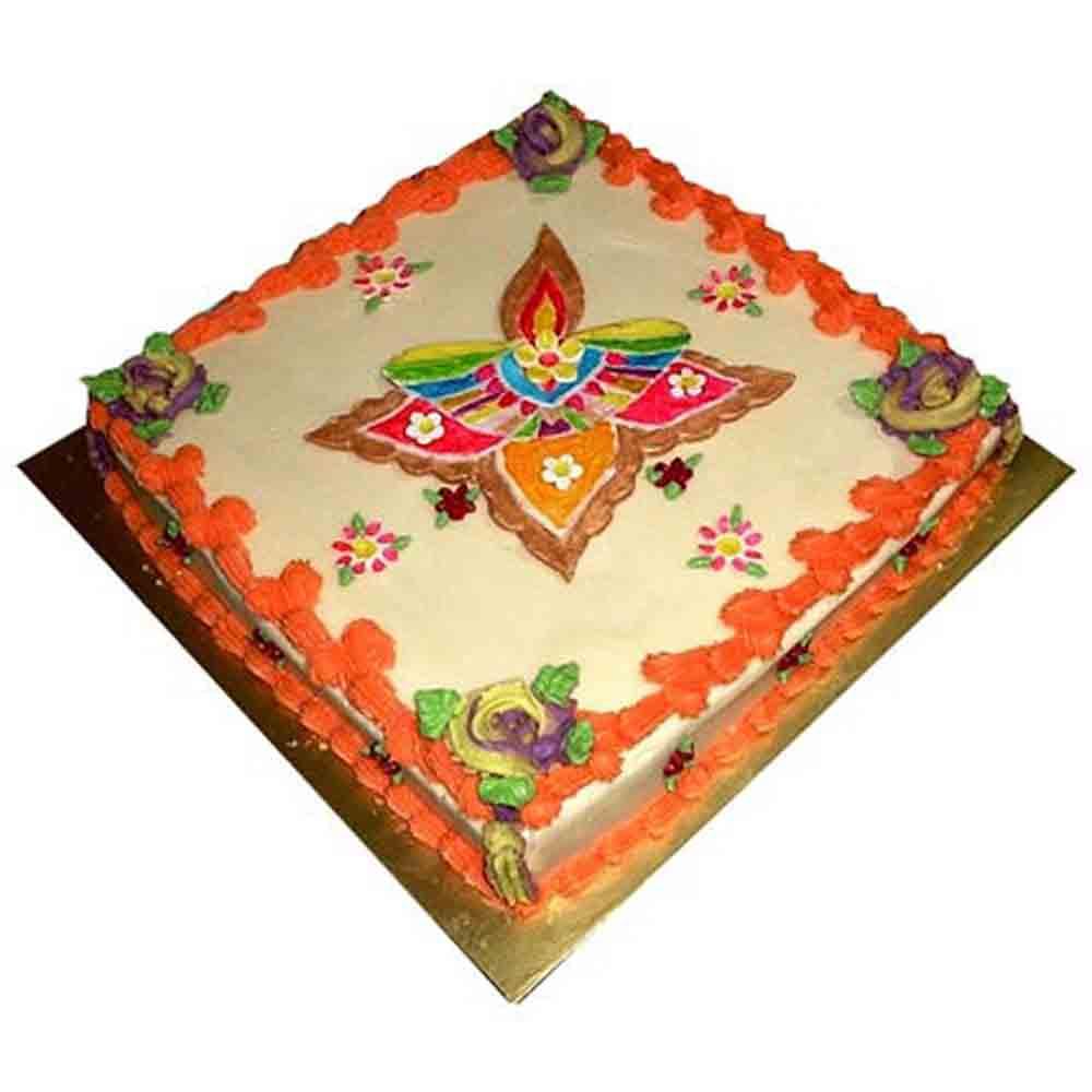 Cakes-Beautiful Rangoli Cake 1kg - Diwali Gifts