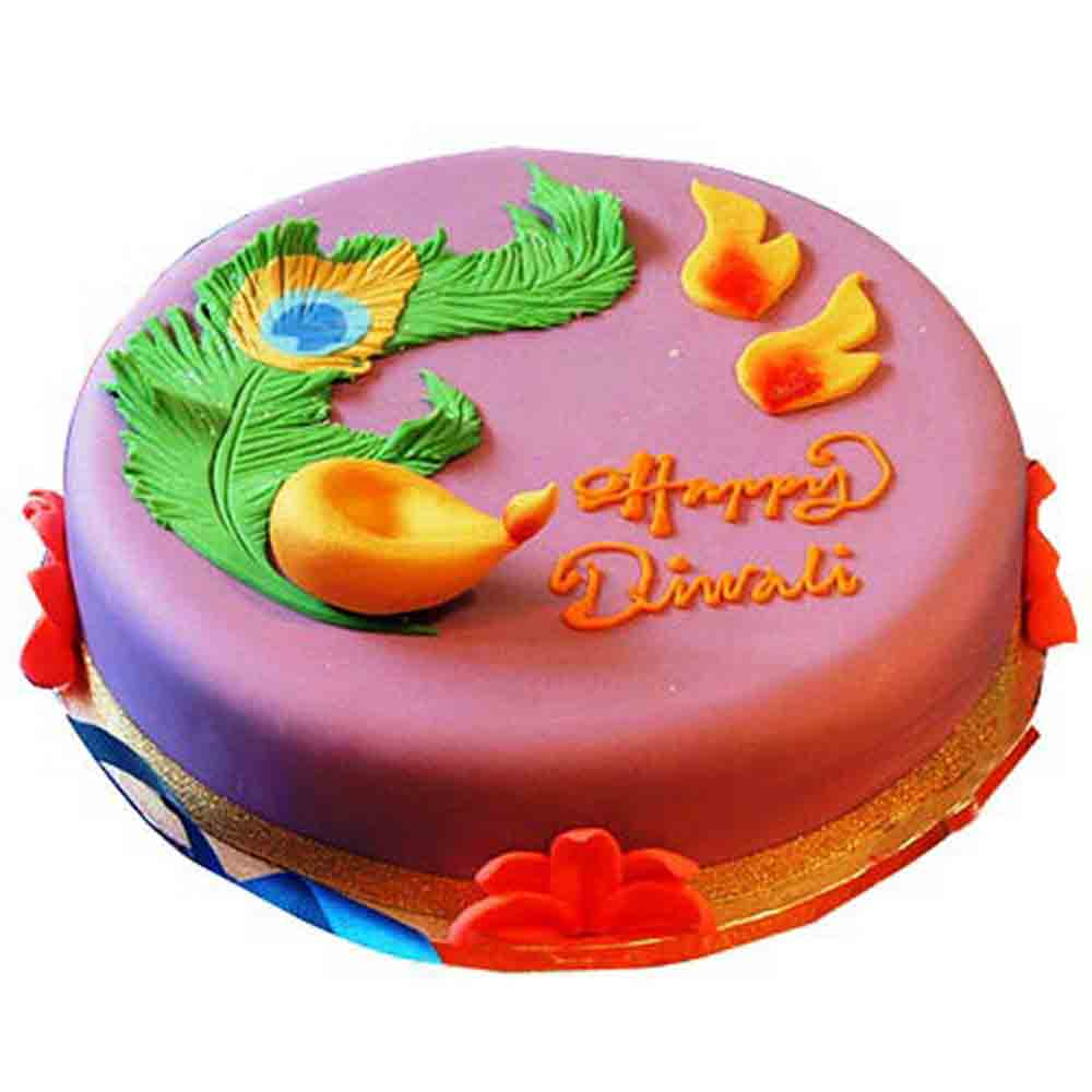 Cakes-Beautiful Deepavali Cake 1kg - Diwali Gifts
