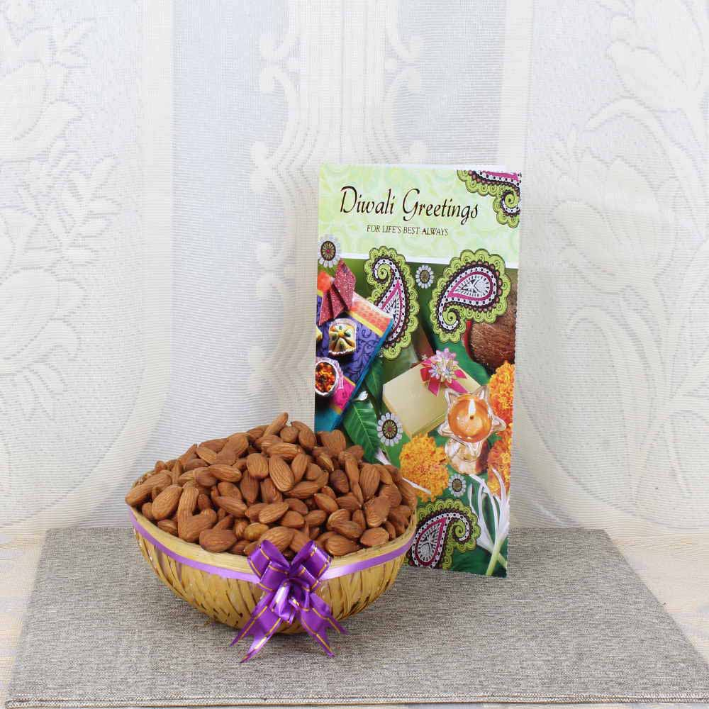 Almond Basket with Diwali Greeting Card
