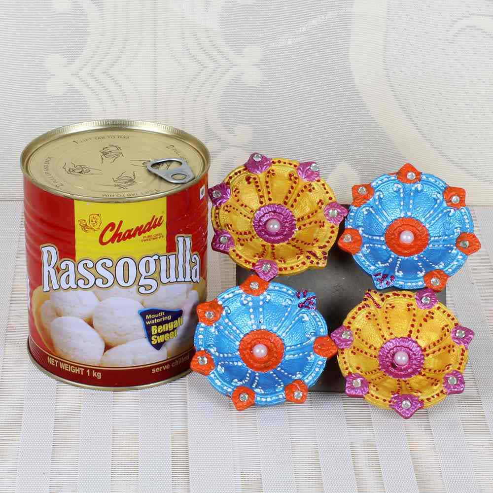 Rasgulla Sweets with Earthen Diya Set