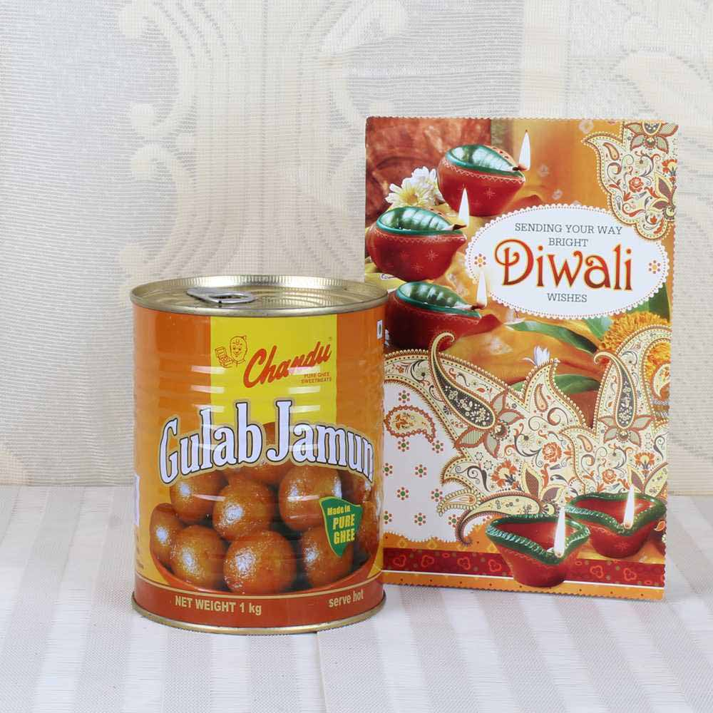 Gulab Jamun Sweets with Diwali Greeting Card