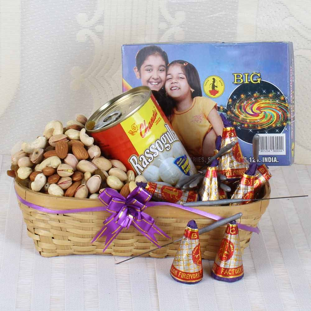 Crackers & More..-Diwali Fire Crackers and Rasgulla Sweets with Assorted Dry fruit Basket