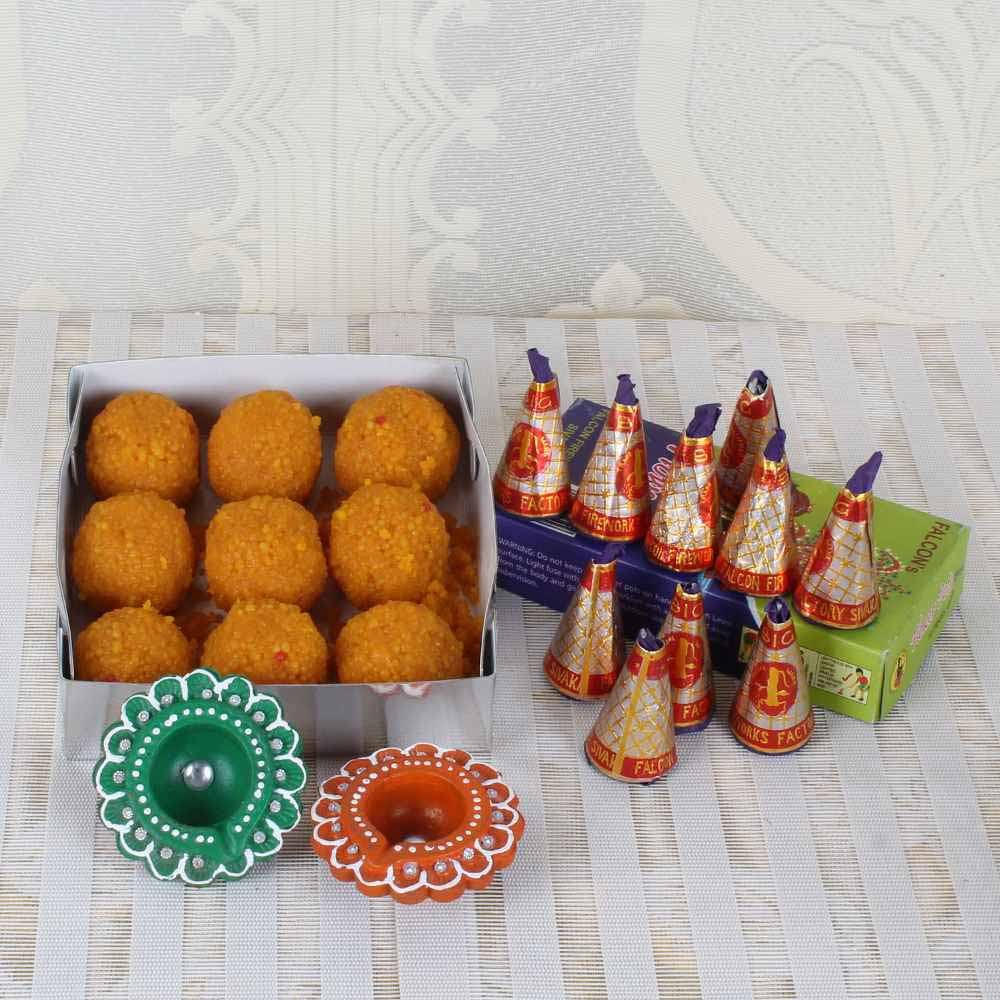 Boondi Laddu Box and Flower pot cracker with Earthen Diyas
