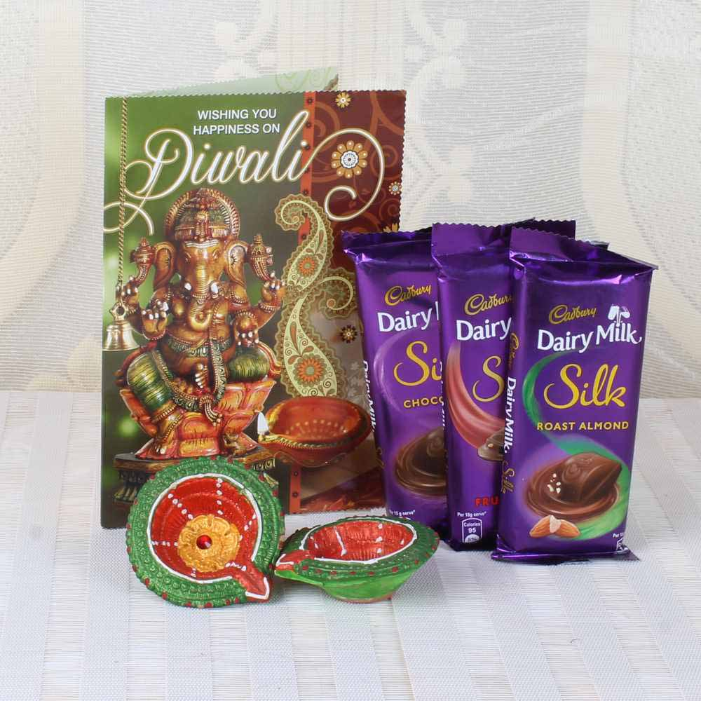 Diwali Silk Chocolates Hamper of Greeting Card with Earthen Diyas