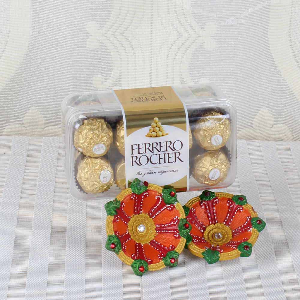 Diwali Hamper of Ferrero Rocher Chocolate with Earthen Diyas for Wife