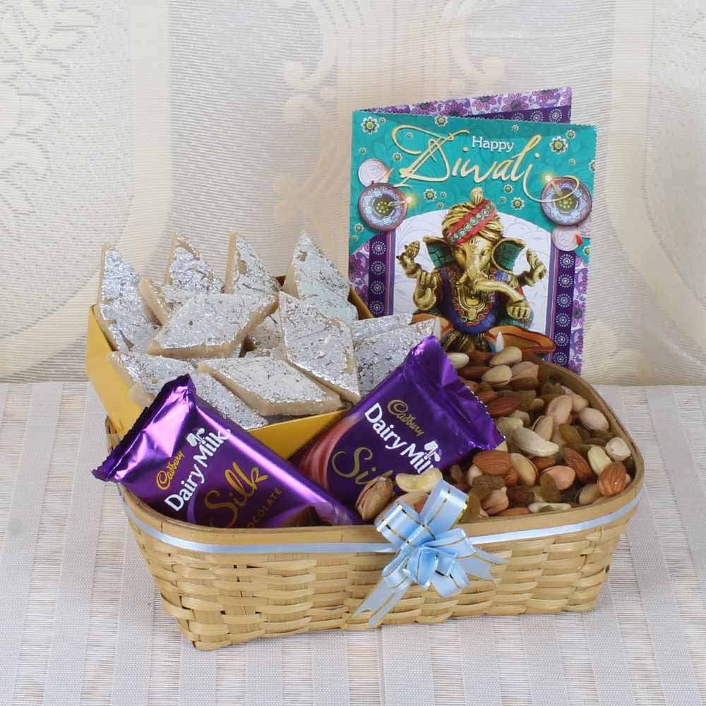 Flowers with Dryfruits-Diwali Wishes Hamper for Family of Assorted Dry Fruit Basket with Kaju Katli Sweet and Silk Chocolate