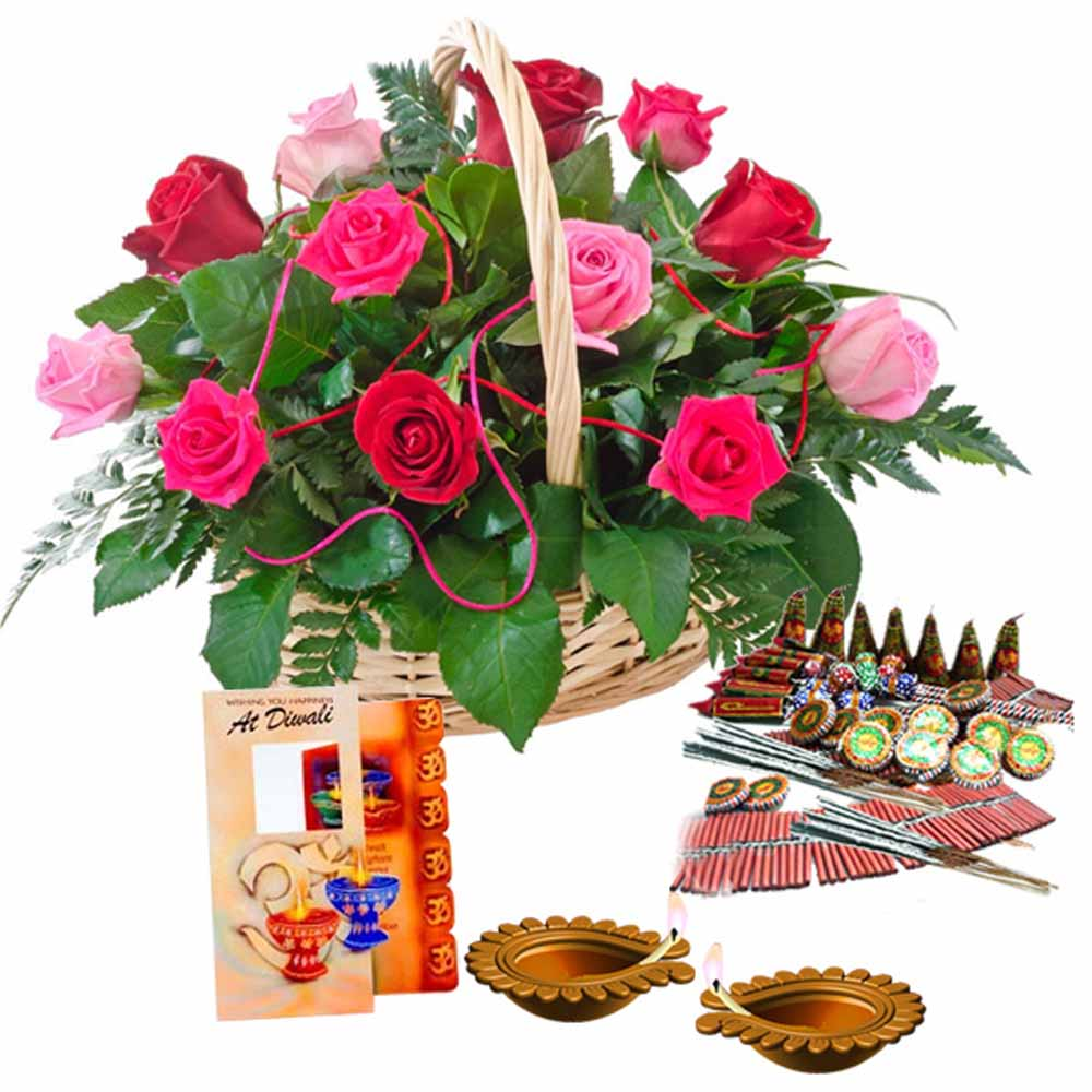 Diwali Greeting Card (Worth Rs 50/-)and Crackers with Basket of Roses
